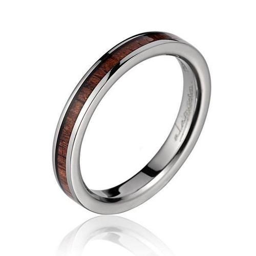 Women's Titanium Ring with Genuine Koa Wood Inlay