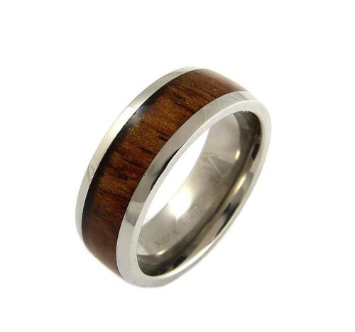 Titanium Ring with Real Hawaiian Koa Wood Inlay