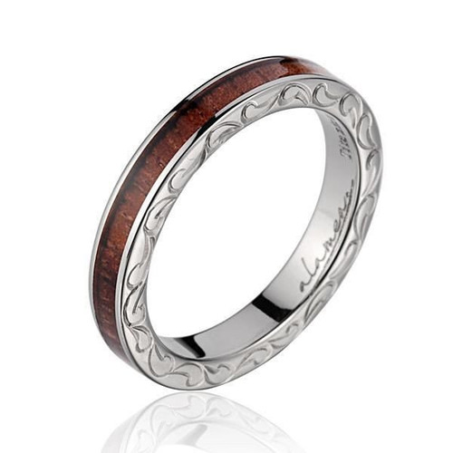 Titanium Ring with Genuine Koa Wood Inlay & Hand Engraved Scroll