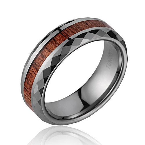 Diamond Faceted Tungsten Ring with Genuine Koa Wood Inlay