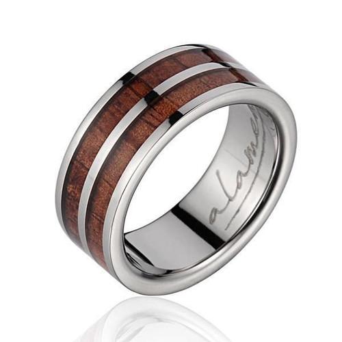 Real Hawaiian Koa Wood Inlaid Titanium Wedding Ring