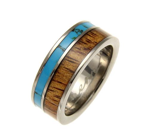 Men's Turquoise Titanium Ring with Genuine Hawaiian Koa Wood Inlay