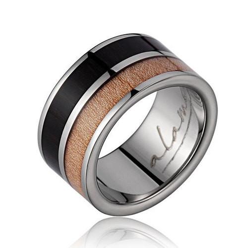 Titanium Ring with Genuine Macassar Ebony & Maple Wood Inlay
