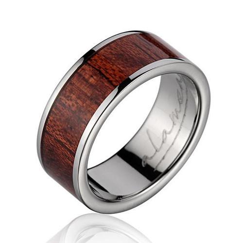 Genuine Hawaiian Koa Wood Inlaid Titanium Wedding Band
