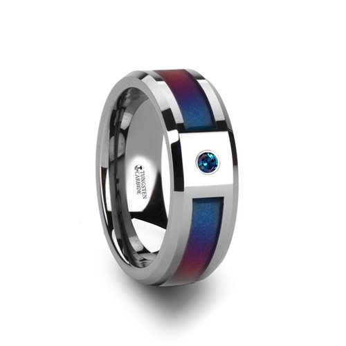 Laurel Tungsten Carbide Band with Blue & Purple Color Changing Inlay and Alexandrite at Rotunda Jewelers