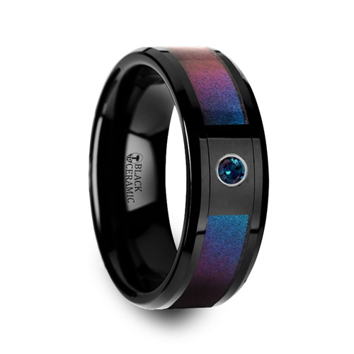 Herbig Black Ceramic Band with Blue & Purple Color Changing Inlay and Alexandrite at Rotunda Jewelers