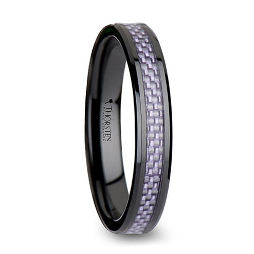 Honesty Black Ceramic Band with Purple Carbon Fiber Inlay at Rotunda Jewelers
