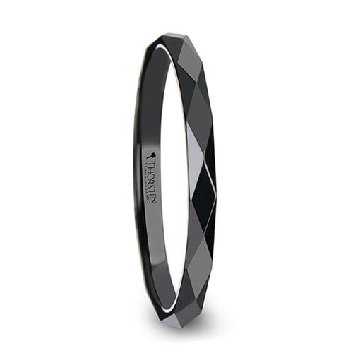 Gilliflower Polished Diamond Faceted Black Ceramic Women's Wedding Ring at Rotunda Jewelers