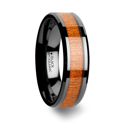 Coltsfoot Black Ceramic Wedding Band with Black Cherry Wood Inlay at Rotunda Jewelers