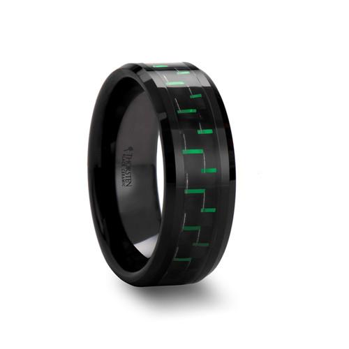 Black Ceramic Band with Black & Green Carbon Fiber at Rotunda Jewelers