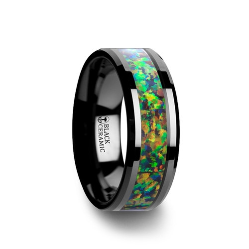 Lobelia Black Ceramic Wedding Band with Blue & Orange Opal Inlay at Rotunda Jewelers