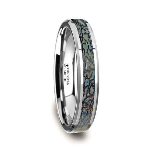 Bolean Tungsten Carbide Ring with Genuine Blue Dinosaur Bone Inlay at Rotunda Jewelers