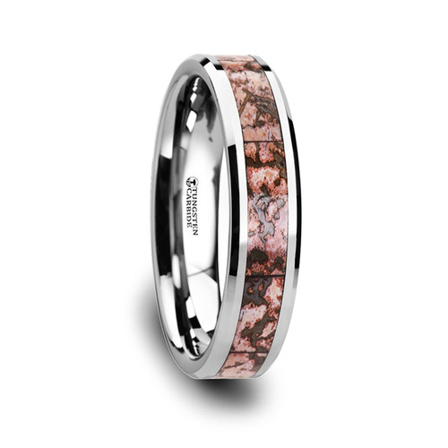 Virginia Genuine Pink Dinosaur Bone Inlay Tungsten Carbide Ring at Rotunda Jewelers