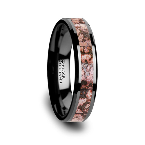 Coral Genuine Pink Dinosaur Bone Inlay Black Ceramic Wedding Ring at Rotunda Jewelers