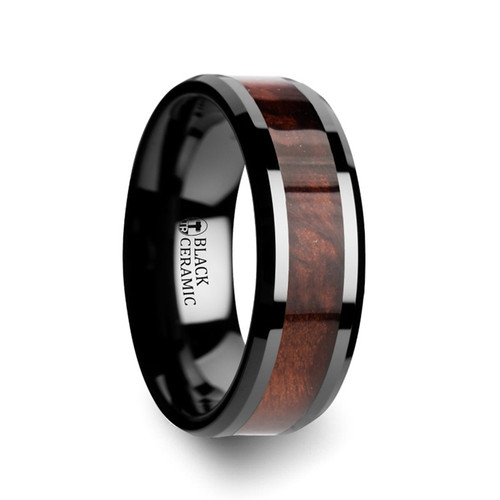 Butterfly Black Ceramic Band with Redwood Inlay at Rotunda Jewelers