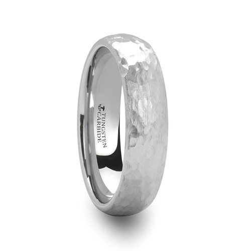 Gerbera Hammered Domed White Tungsten Ring at Rotunda Jewelers