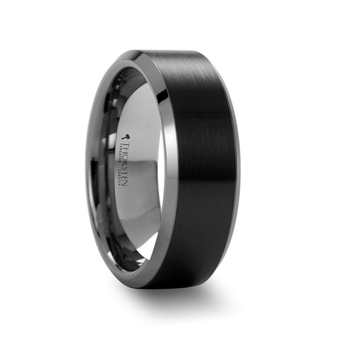Rain Tungsten Carbide Band with Brushed Black Ceramic Center at Rotunda Jewelers