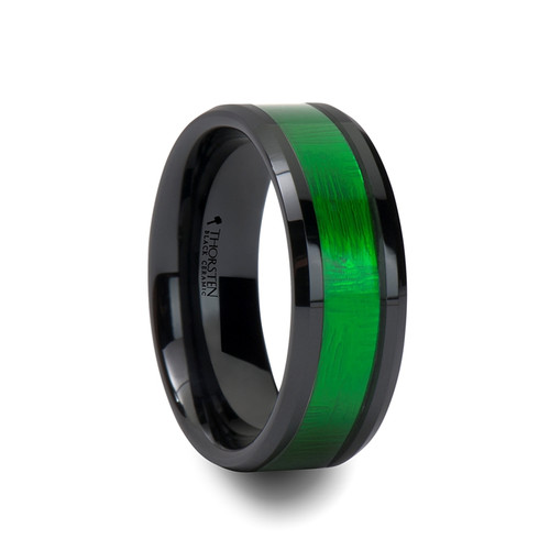 Berry Black Ceramic Band with Textured Green Inlay at Rotunda Jewelers