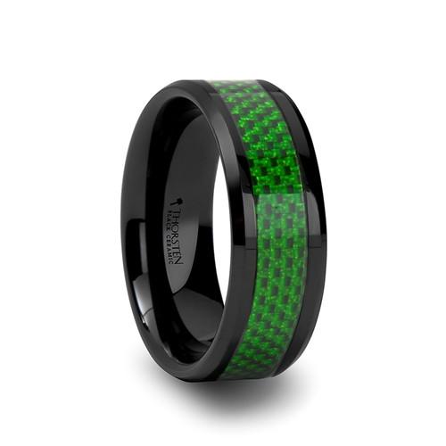Lechenaultia Black Ceramic Band with Emerald Green Carbon Fiber Inlay at Rotunda Jewelers