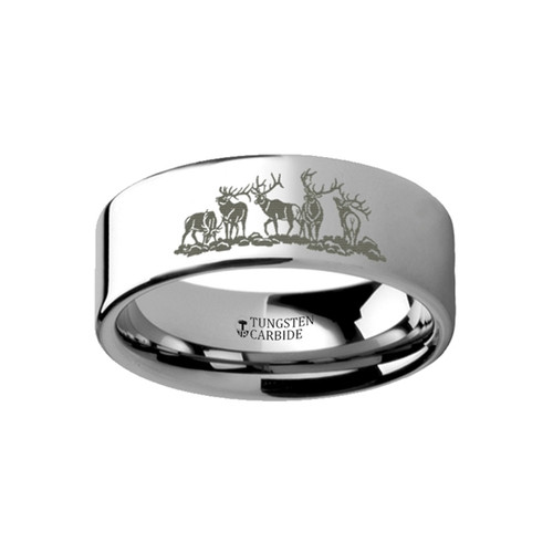 Bearberry Landscape Scene with Deer Engraved Flat Tungsten Ring at Rotunda Jewelers