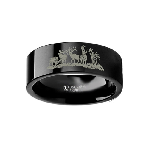 Troutrastra Landscape Scene with Deer Engraved Flat Black Tungsten Ring at Rotunda Jewelers
