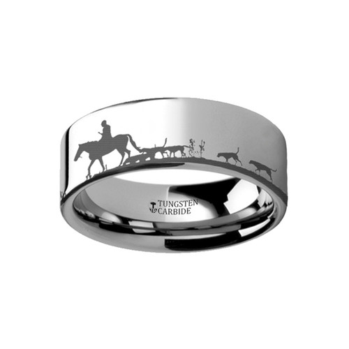 Centaury Landscape Scene Fox Hunt Engraved Flat Tungsten Ring at Rotunda Jewelers