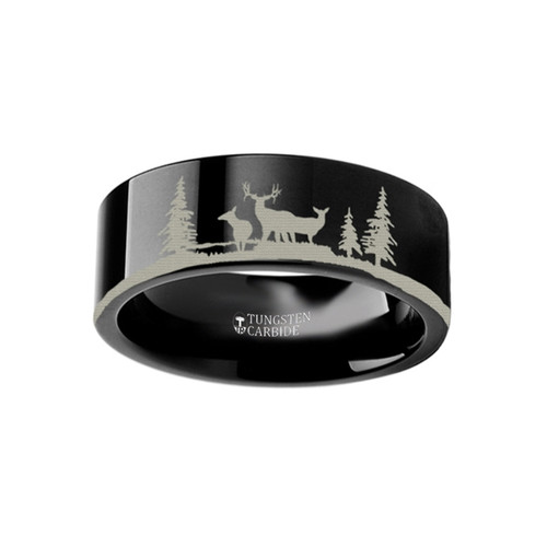 Angelonia Landscape Scene with Deer Engraved Flat Black Tungsten Ring at Rotunda Jewelers