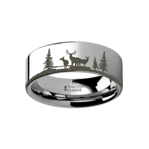 Bleeding Landscape Scene with Deer Engraved Flat Tungsten Ring at Rotunda Jewelers