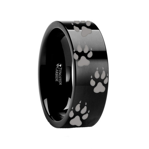 Arum Wolf Track Engraved Black Tungsten Ring at Rotunda Jewelers