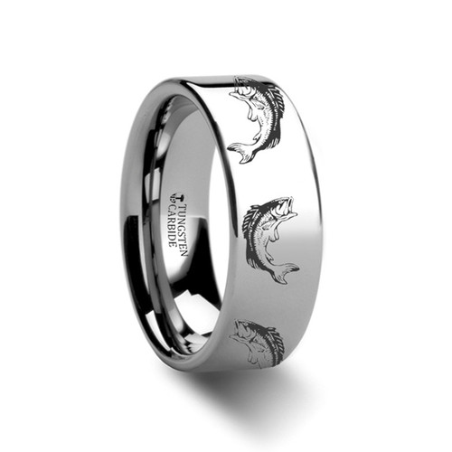 Fernleaf Bass Fish Engraved Flat Tungsten Ring at Rotunda Jewelers