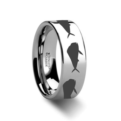Bird Fish Pattern Engraved Flat Tungsten Ring at Rotunda Jewelers