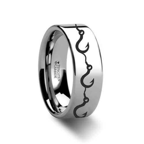 Bell Fishing Hook Pattern Engraved Flat Tungsten Ring at Rotunda Jewelers
