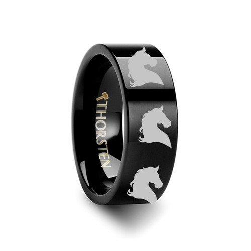 Budalla Horse Head Engraved Flat Black Tungsten Ring at Rotunda Jewelers