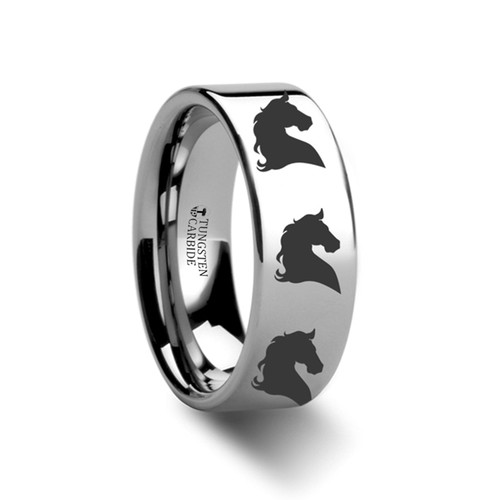 Belle Horse Head Engraved Flat Tungsten Ring at Rotunda Jewelers