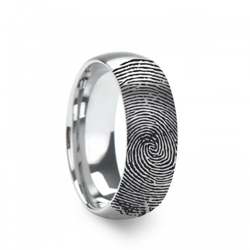 Canyon Fingerprint Engraved Domed Brushed Tungsten Band at Rotunda Jewelers
