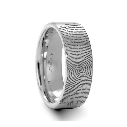 Plantago Engraved Brushed Pipe Cut Tungsten Band at Rotunda Jewelers