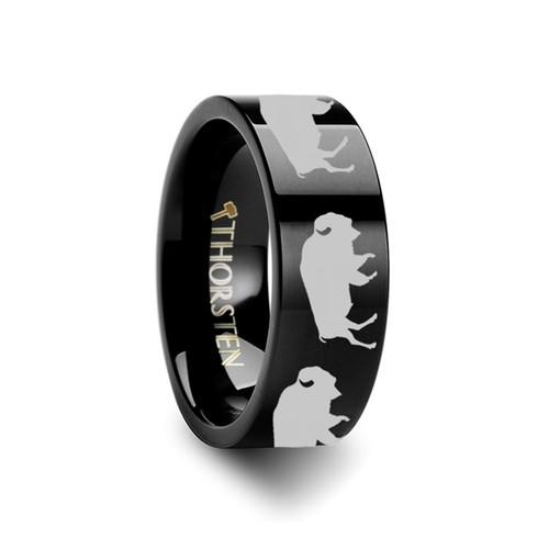 Allium Buffalo Engraved Flat Black Tungsten Ring at Rotunda Jewelers