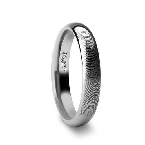 Hosta Custom Fingerprint Engraved Domed Tungsten Ring at Rotunda Jewelers