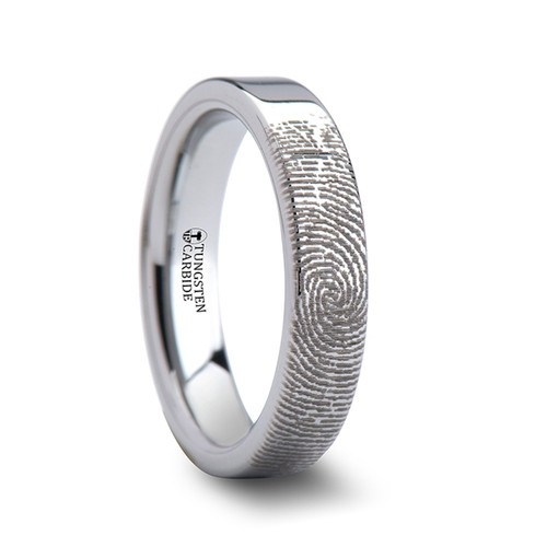 Love Custom Fingerprint Engraved Flat Pipe Cut Tungsten Ring at Rotunda Jewelers