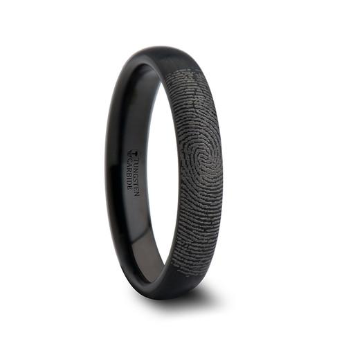 Marina Custom Fingerprint Engraved Domed Black Tungsten Band with Brushed Finish at Rotunda Jewelers