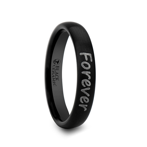 Mesquite Handwritten Engraved Domed Black Tungsten Band with Brushed Finish at Rotunda Jewelers