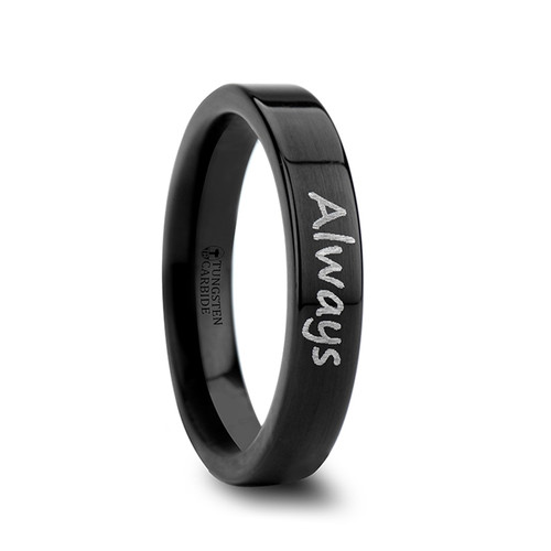 Astilbe Handwritten Engraved Flat Pipe Cut Black Polished Tungsten Ring at Rotunda Jewelers