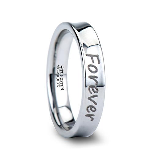 Polyanthus Handwritten Engraved Concave Tungsten Ring at Rotunda Jewelers