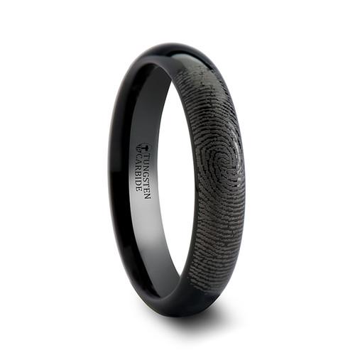 Seba Custom Fingerprint Engraved Domed Black Tungsten Ring at Rotunda Jewelers