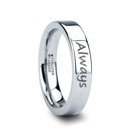 Courionnecum Handwritten Engraved Flat Pipe Cut Polished Tungsten Ring at Rotunda Jewelers