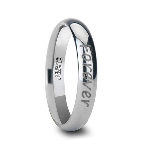 Spioax Handwritten Engraved Domed Tungsten Ring at Rotunda Jewelers