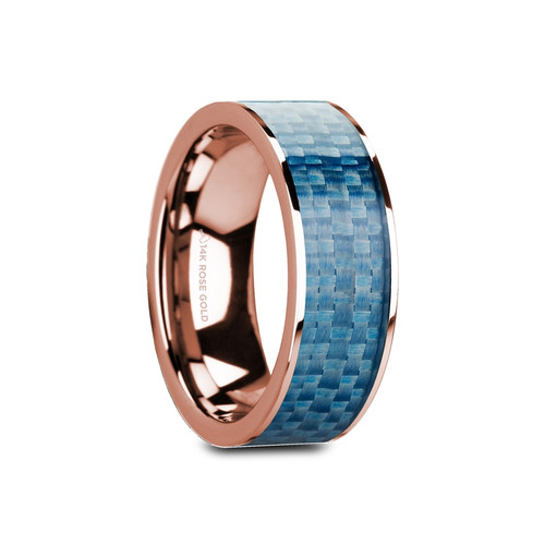 Hellebore Flat 14k Rose Gold Band with Blue Carbon Fiber Inlay at Rotunda Jewelers