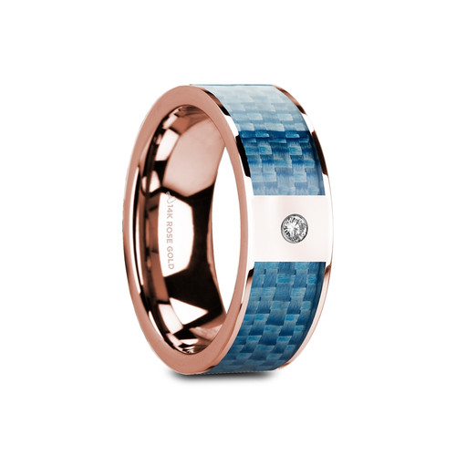Viper Flat Polished 14k Rose Gold Band with Blue Carbon Fiber Inlay & White Diamond at Rotunda Jewelers