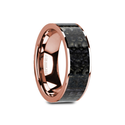 Nodding Flat Polished 14k Rose Gold Band with Genuine Blue Dinosaur Bone Inlay at Rotunda Jewelers