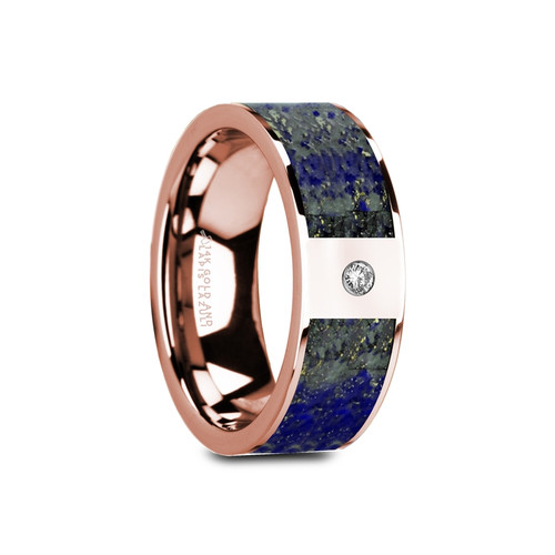 Hyacinth Flat Polished 14k Rose Gold Band with Blue Lapis Lazuli Inlay & White Diamond at Rotunda Jewelers